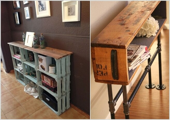 Old Wood Crates Transformed Into Entryway Tables