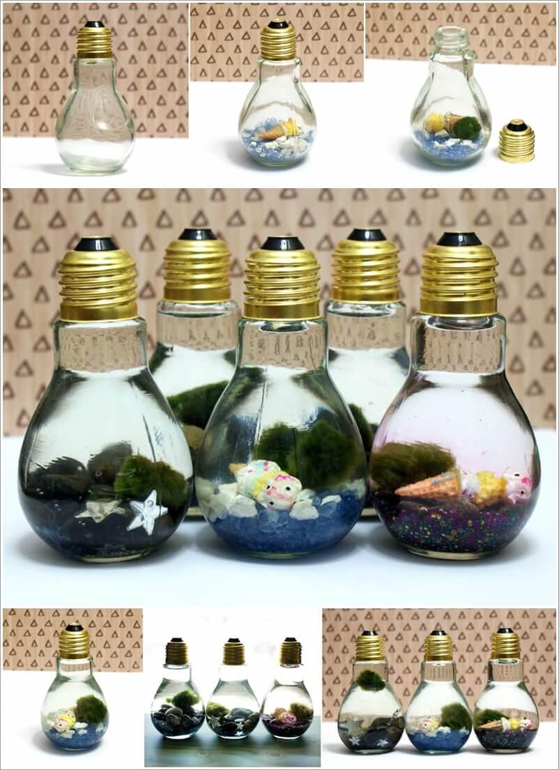 make these mini aquariums with light bulbs. Black Bedroom Furniture Sets. Home Design Ideas