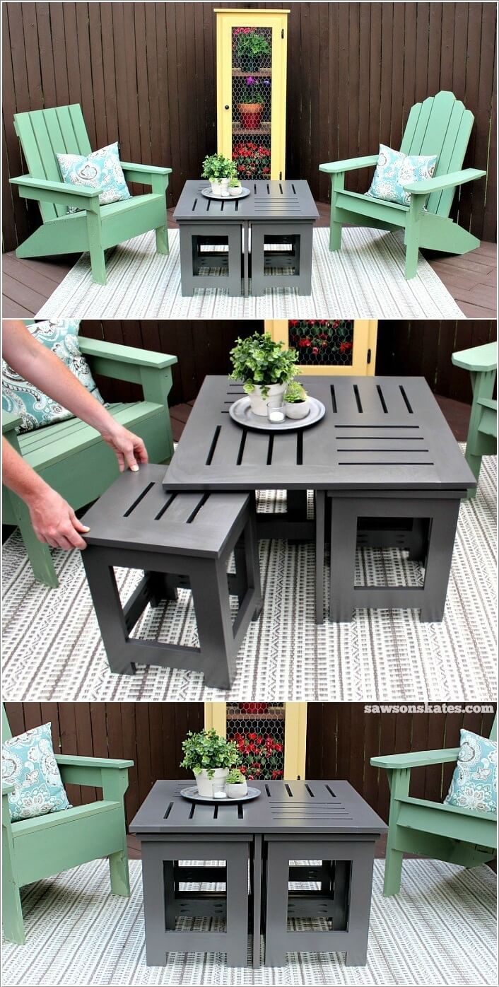 Captivating A Clever Outdoor Coffee Table Built With 4 Hidden End Tables