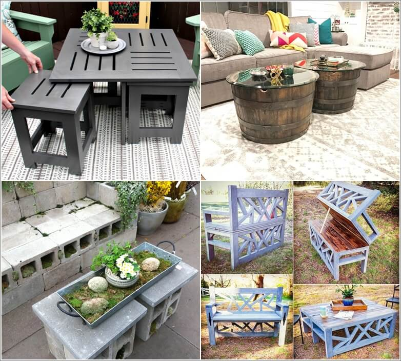 13 diy outdoor coffee table ideas for Small outdoor table ideas