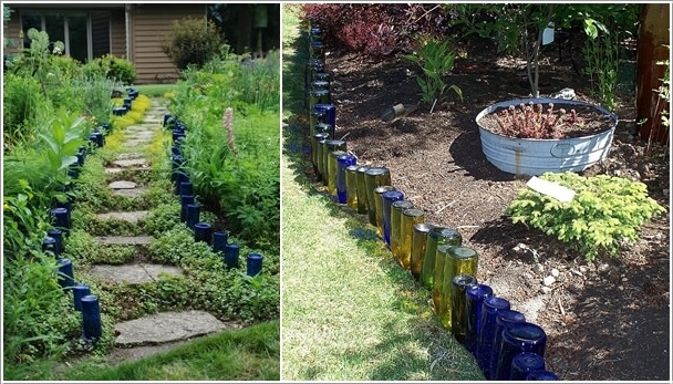 Border Your Garden With Recycled Wine Bottles