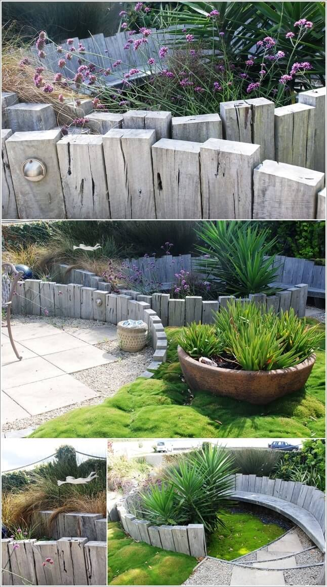 Garden Sleepers Ideas Creative garden edging ideas give your garden a rustic look with weathered wood sleepers workwithnaturefo