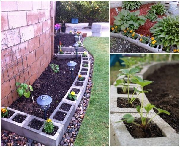 Build A Garden Border With Planted Cinder Blocks