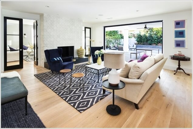 for a chic look opt for a printed version of a jute rug