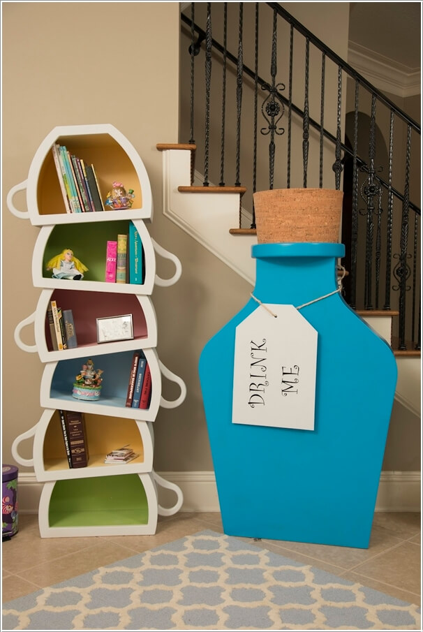a colorful inverted teacup bookcase - Bookcase Design Ideas