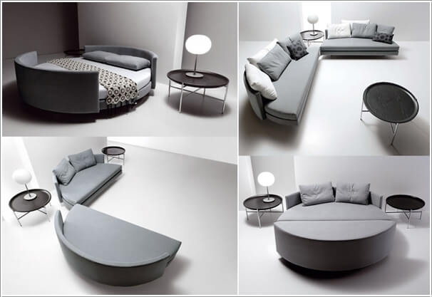 A Semi Circular Sectional Sofa That Converts Into Cozy Round Bed