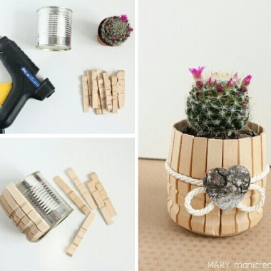 Wood Clothespins and Tin Can Planter fi