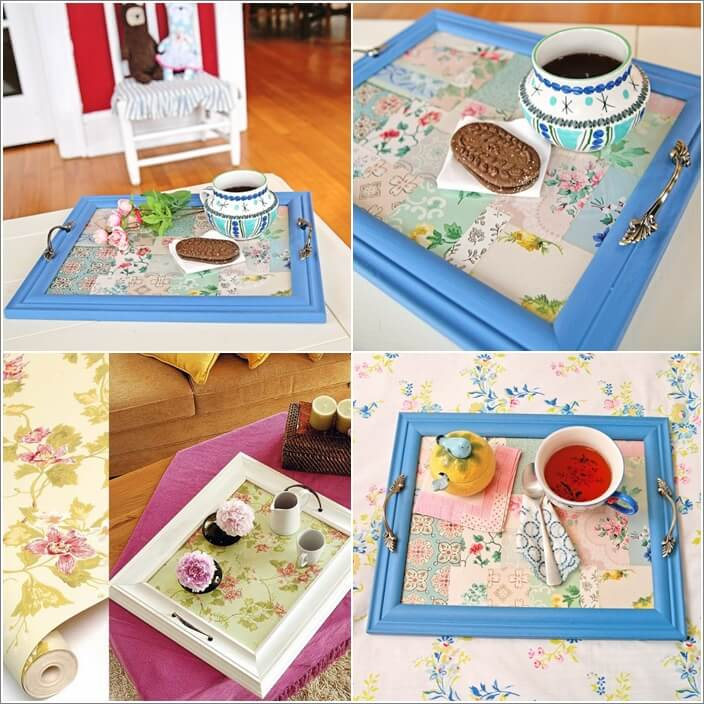 Make A Wallpapered Tray With Dollar Store Frame