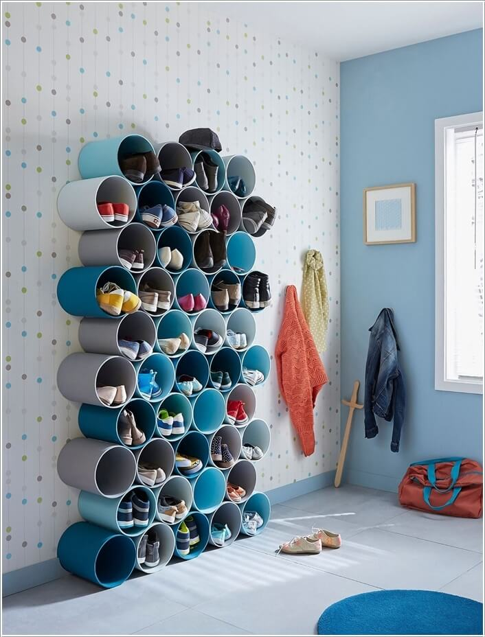 1. Cut Pieces of PVC Pipe and Stack Them Together into a Shoe Rack & 15 Budget-Friendly Shoe Storage Ideas
