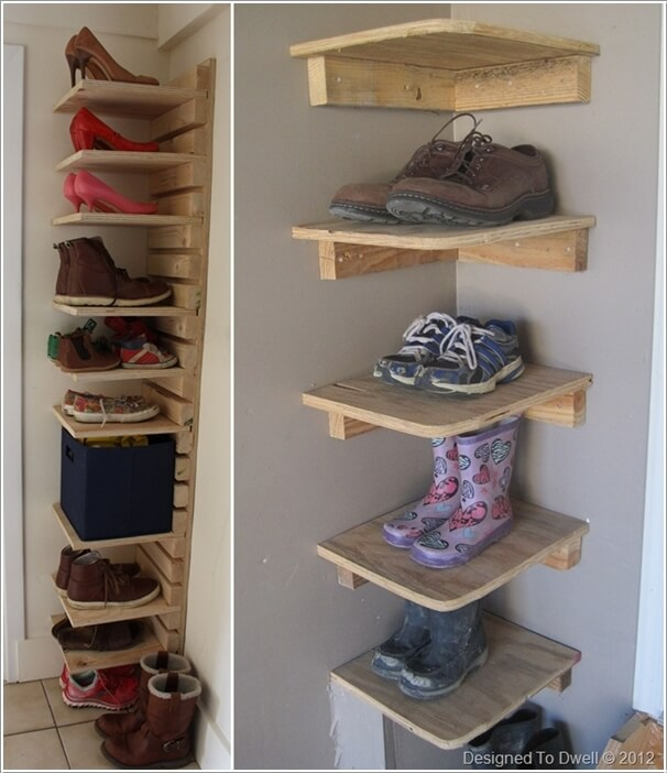 15. Build Corner Shoe Shelves in Your Garage from Reclaimed Wood & 15 Budget-Friendly Shoe Storage Ideas