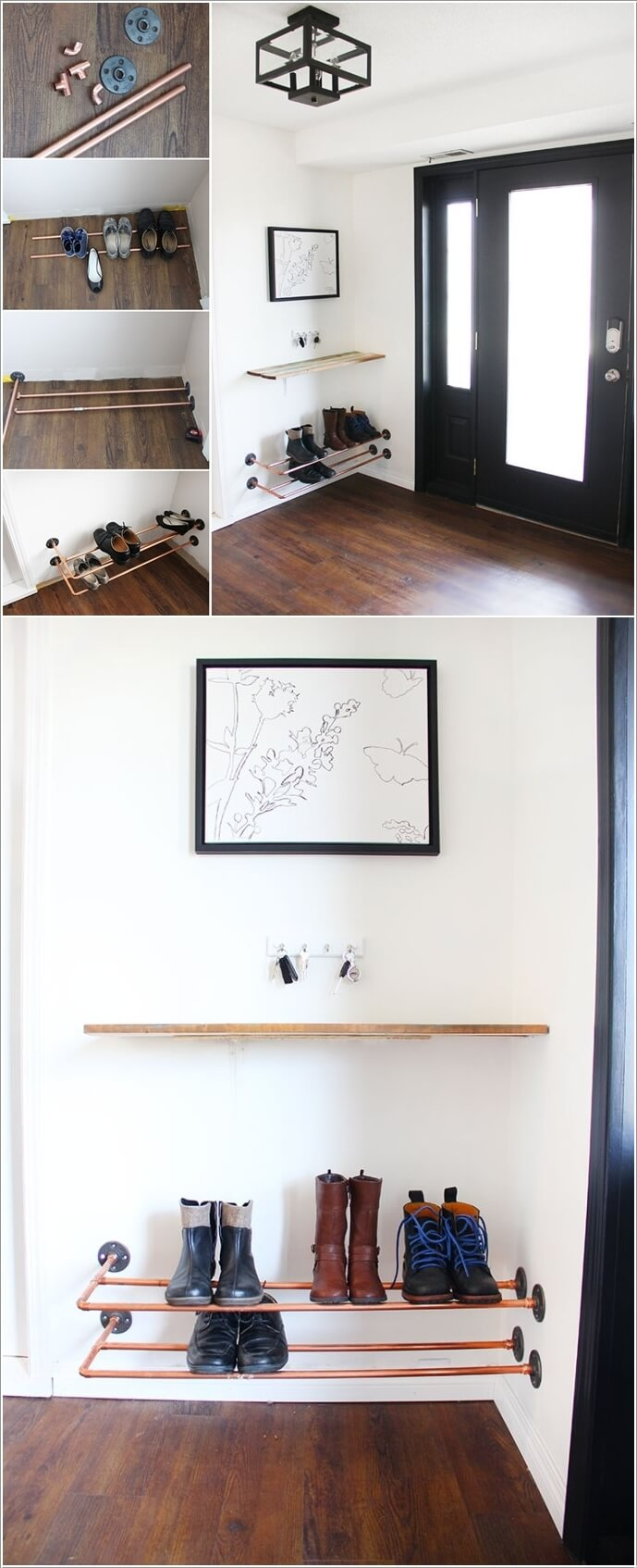 create an easy peasy rack with copper pipe
