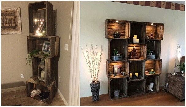 1. Recycle Old Wooden Crates And Stack Them Together Into A Shelving Unit