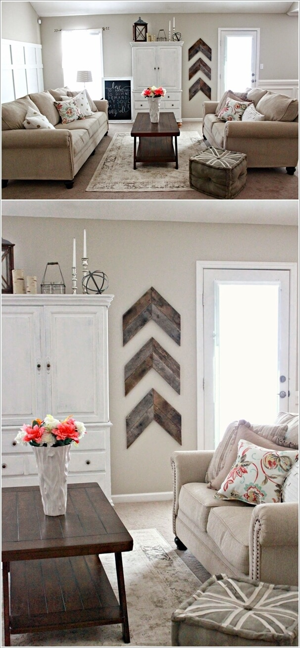 6. Craft A Chevron Wall Art From Recycled Wood