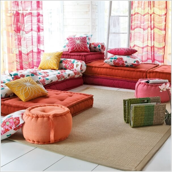 2 Roll Out A Rug And Layer It With Cozy Floor Cushions