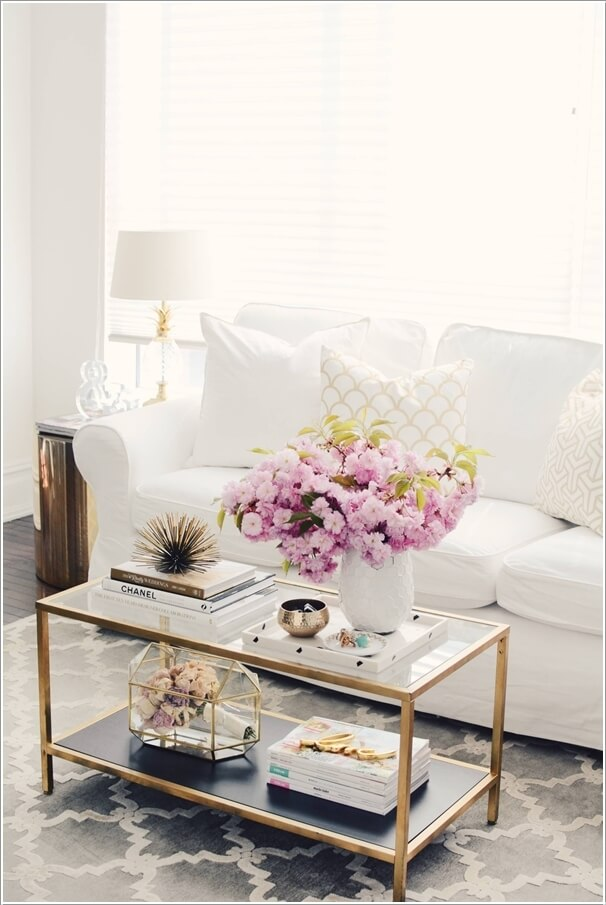white sofas in living rooms. Accent The White Color of Couch with Glamorous Gold Spray Painted  Wrought Iron Furniture How to Decorate a Living Room Sofa