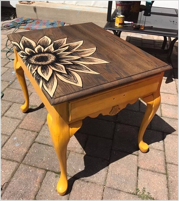 Use Stain Painting Technique To Form Cool Patterns Over The Table Top And  Paint The Legs In Some Prominent Color