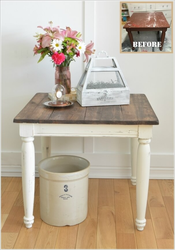 Give A Farmhouse Style Makeover To An Old Table By Scrapping Off Paint And  Staining Its Top And Painting The Legs White