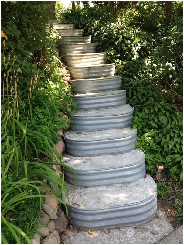 Make A Staircase For The Garden With Concrete Filled Livestock Troughs