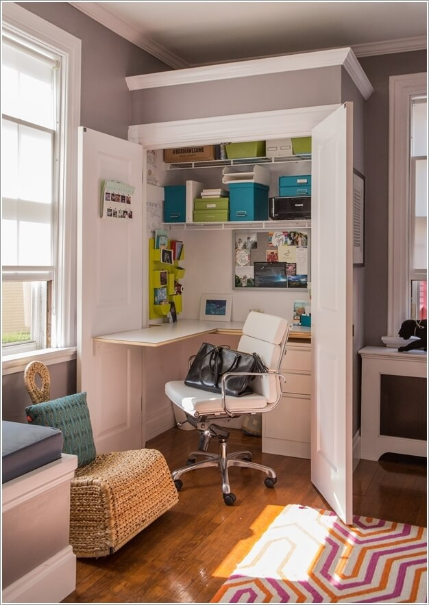 Or Employ Any Corner In Your Living Room By Building A Hideaway Home Office  Inside A Shallow Closet With A Fold Out Desk