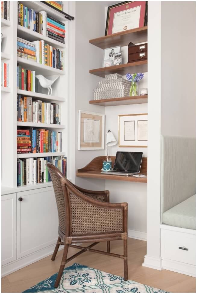 7. Install Shelves In An Alcove And Make It A Home Office