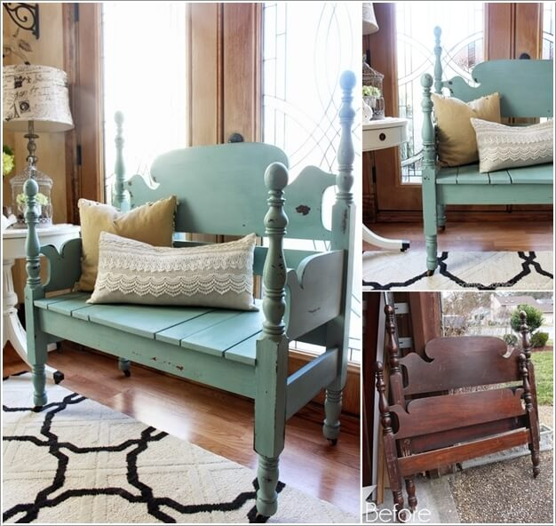 A Bench Created From Recycled Headboard And Footboard Of An Old Bed