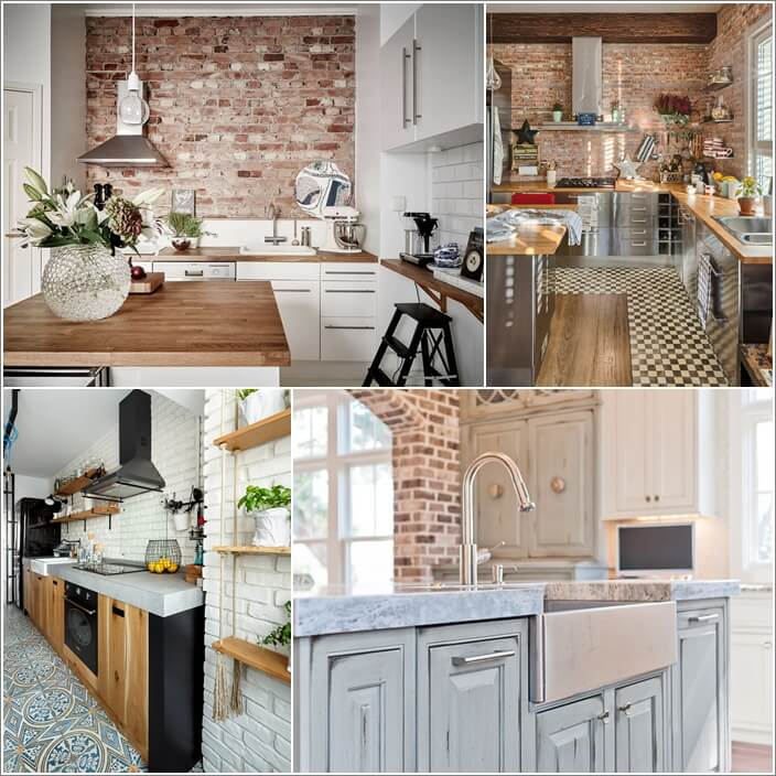cabinet styles that go well in a brick wall kitchen - Kitchen Cabinet Styles
