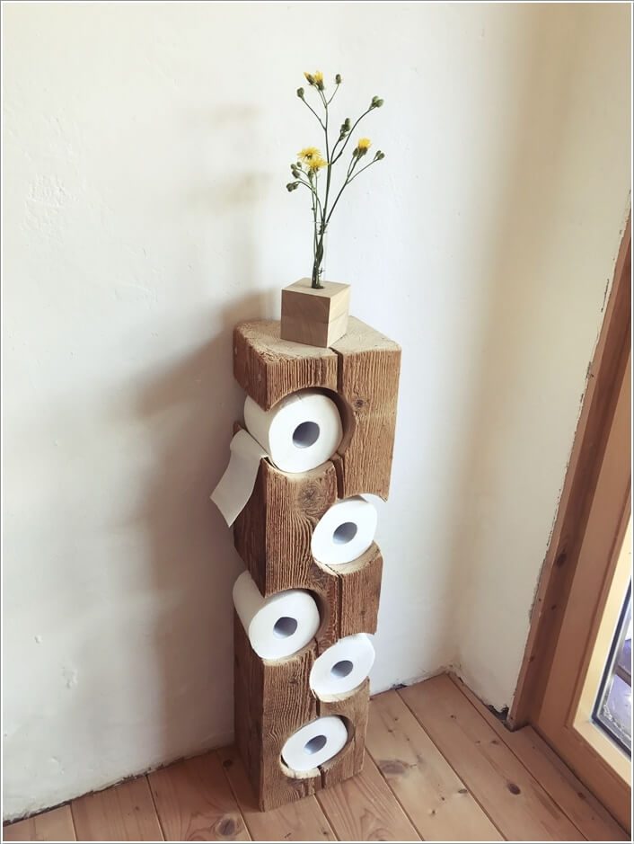 Build A Rustic Toilet Paper Holder With A Square Log Like This