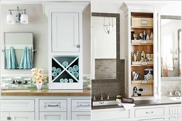 Build A Tower Above The Bathroom Vanity Counter Top