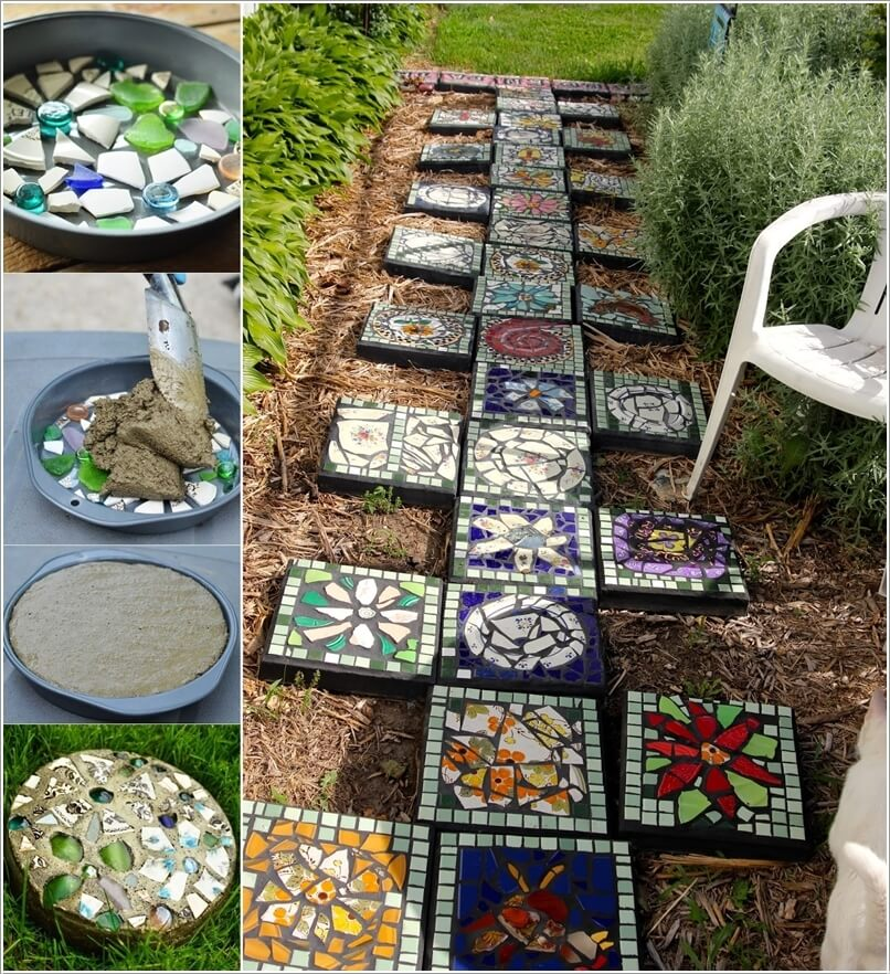 Create Mosaic Stepping Stones For Your Garden; You Can Make A Lot Of  Stepping Stones Too And Design A Walkway