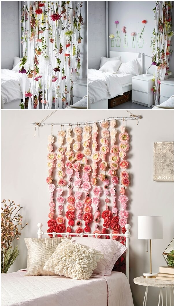 Attractive 3. Create A Backdrop Of Flower Garlands Behind Your Bed Headboard Or Hang  Them Cascading From The Ceiling