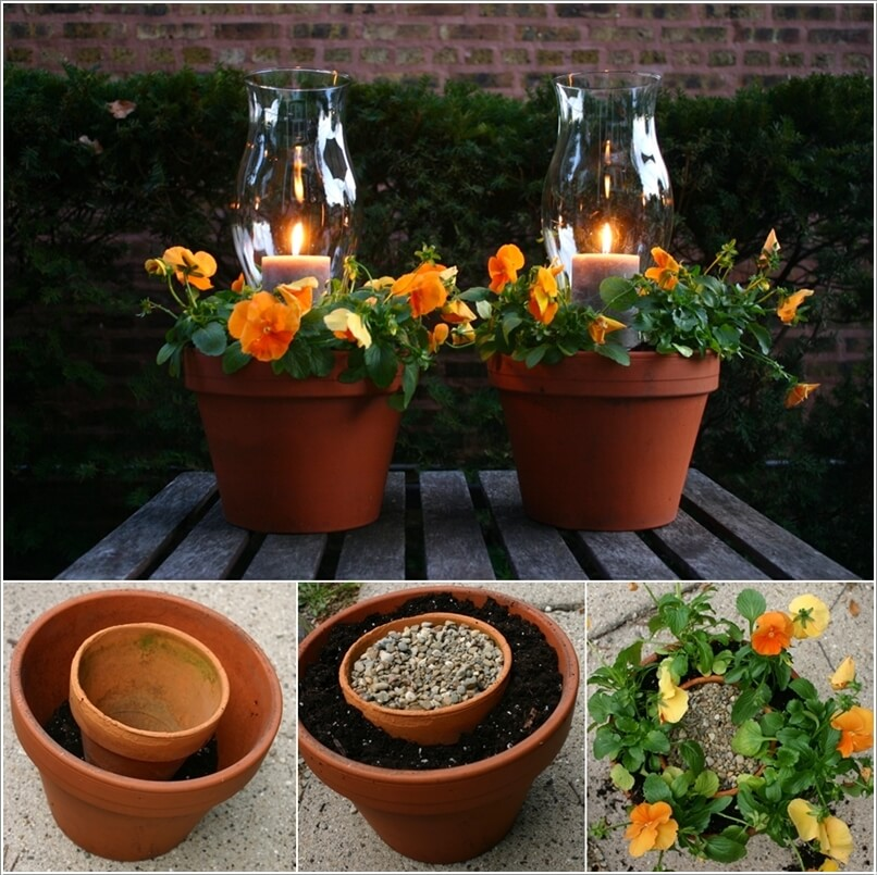 Put A Gravel Filled Pot In A Bigger Pot And Fill The Sides With Dirt For  Flowers; Then Perch A Hurricane Lantern On The Gravel