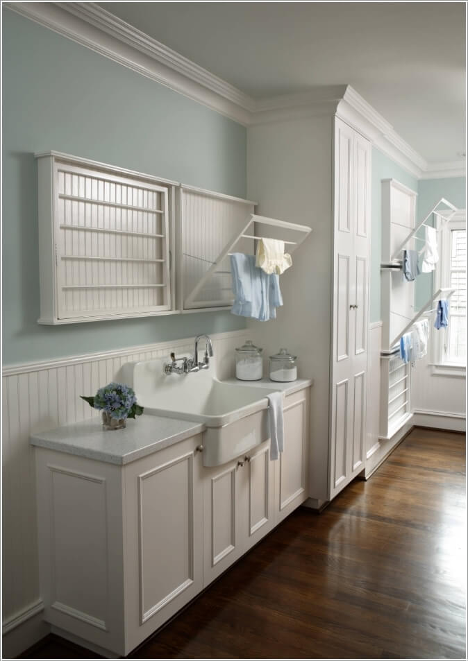 Flat Beadboard Wall Mounted Drying Racks With Fold Out Rod Panels