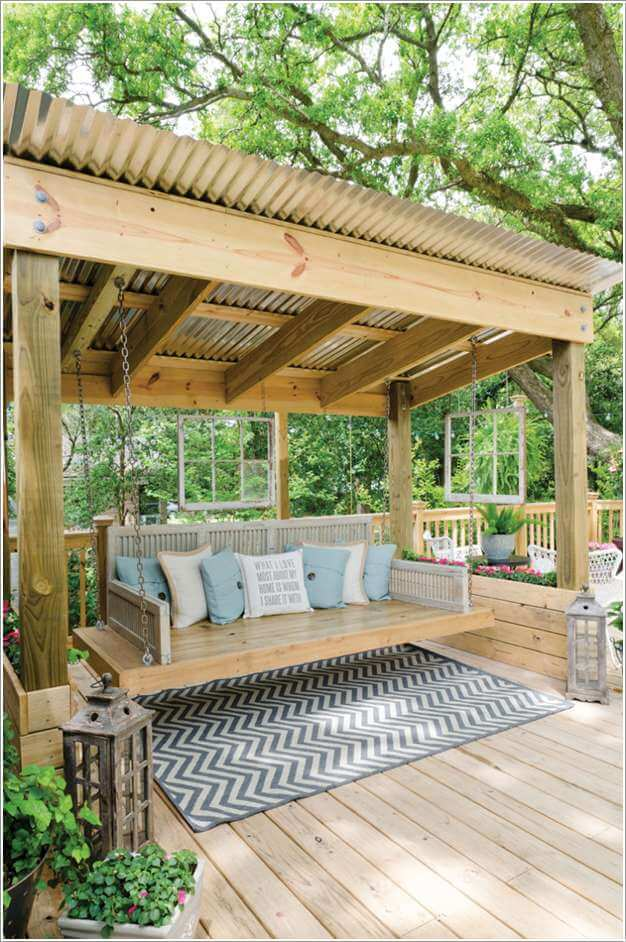 A Corrugated Tin Roof That Can be Enjoyed at The Best While The Rain Falls  and Creates a Calming Sound - Pergola Roofing Ideas For Your Home's Outdoor
