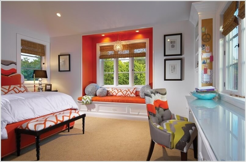 Add visual interest to your bedroom window seat for Bedroom window seat designs