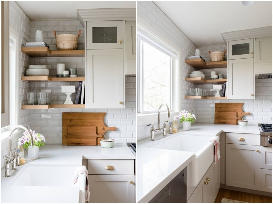 Farmhouse Style Corner Kitchen Shelves That Boost Storage Along With Adding  A Charming Visual Interest