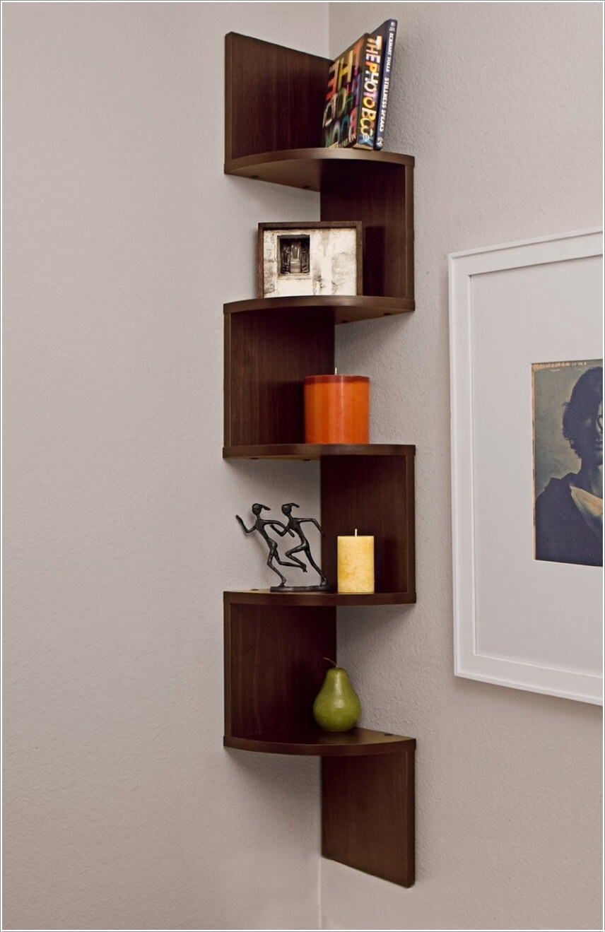 A corner shelving unit design inspired from stairs perfect to display knick knacks