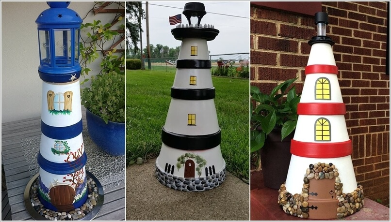 Garden Accent Lighthouses Created With Painted Terracotta Pots