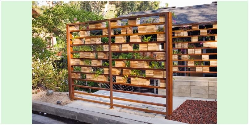 A Space Divider Of Wood Crate Planter Walls Looking Perfectly Rustic