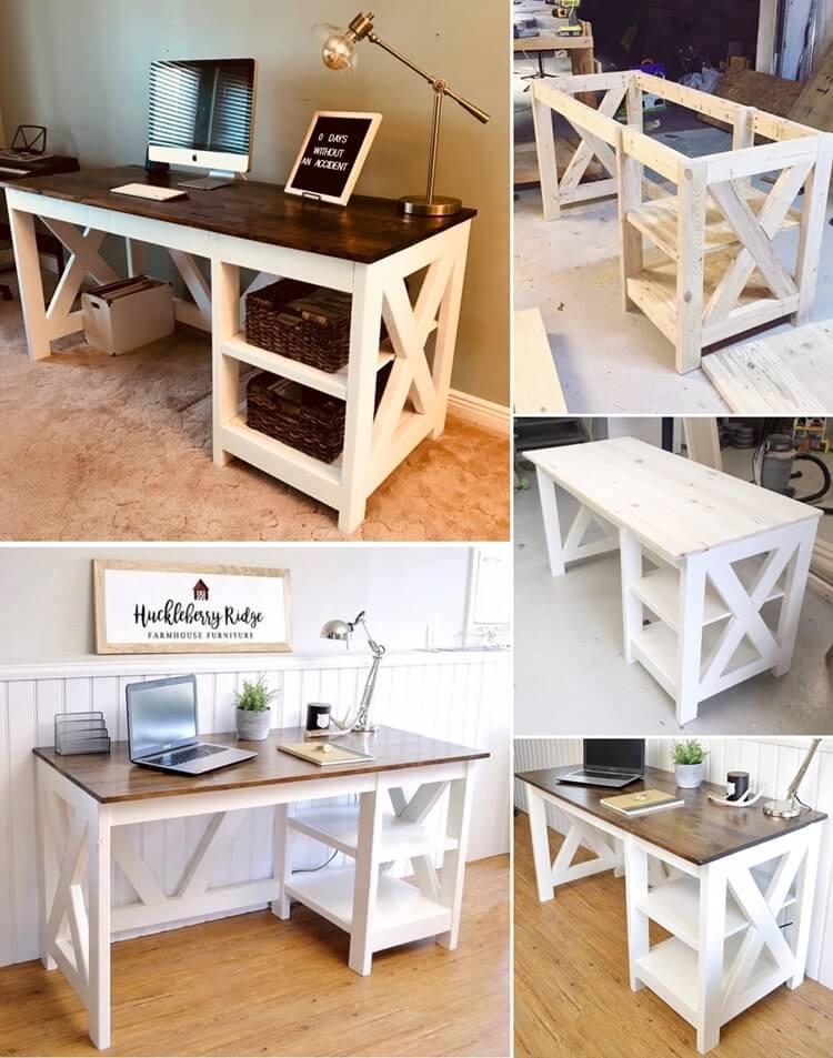 This Farmhouse X Office Desk Is So Elegant