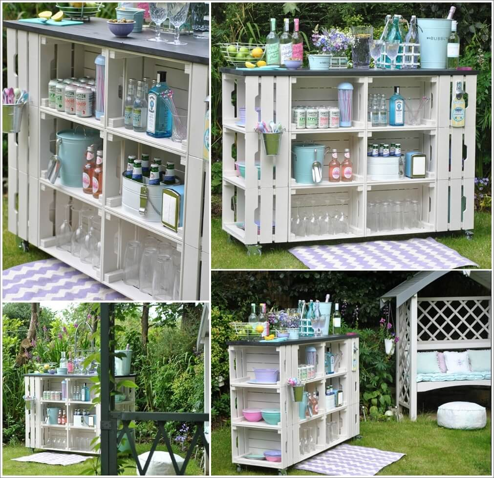 Create A Diy Outdoor Bar With Wooden Crates