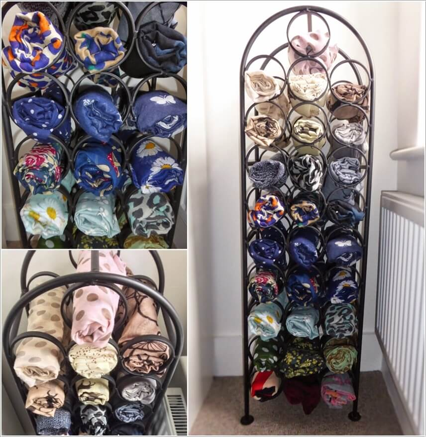 Store Your Scarves In A Wine Bottle Rack After Rolling Them Up Neatly