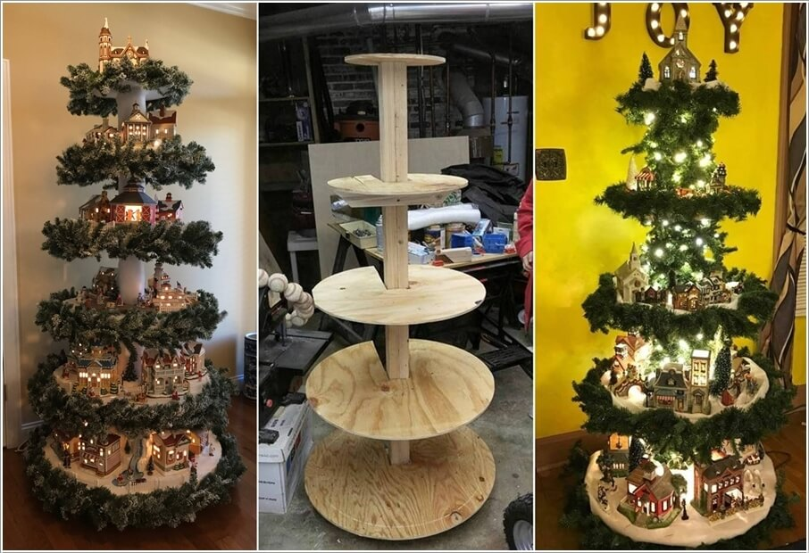 Cut Concentric Wooden Disks and Make a Christmas Village Tree. Creative Christmas Village Display Ideas