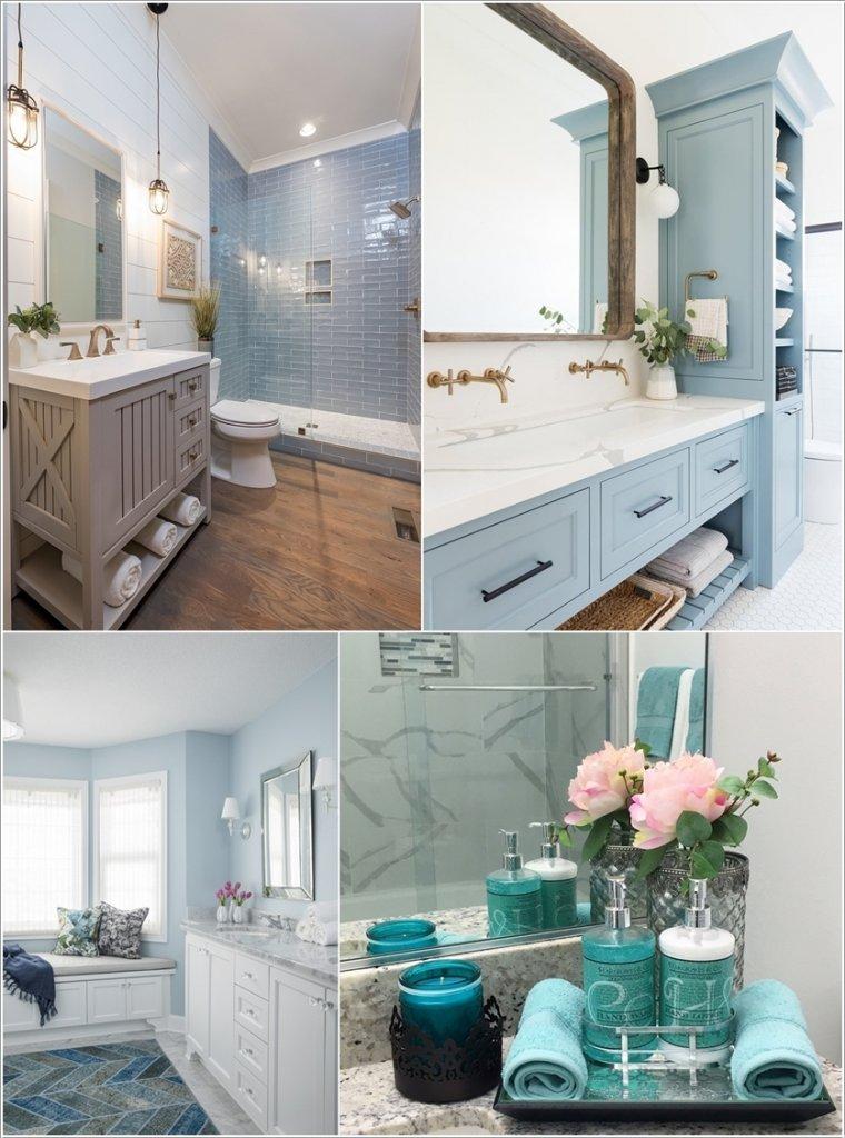 blue bathroom decor