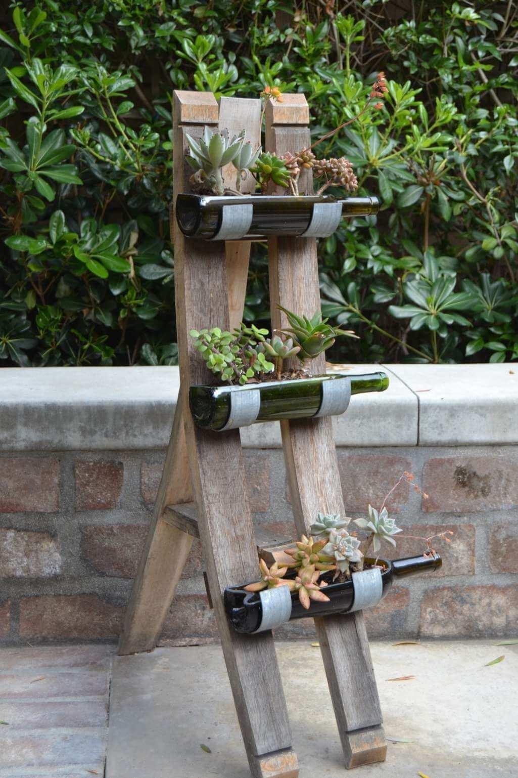 13 Diy Wine Bottle Garden Decor Ideas