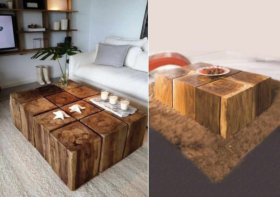 Rustikke kaffebord