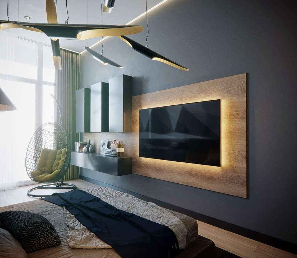 bedroom tv wall design