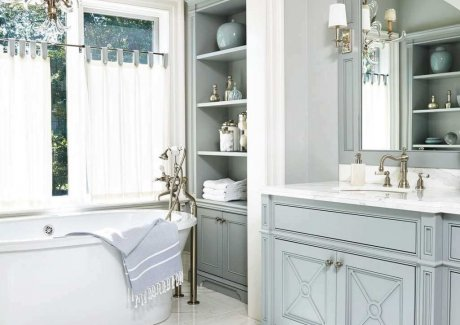 blue bathroom cabinet